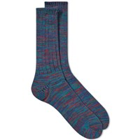 Anonymous Ism 5 Colour Mix Crew Sock Blue