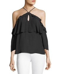 Paige Luciana Halter Off The Shoulder Ruffled Silk Blouse Black
