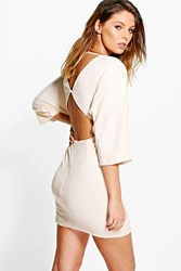 Boohoo Sequin Open Back Detail Bodycon Dress Blush