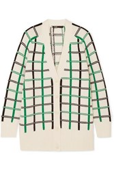 Maje Maya Checked Knitted Cardigan Ecru