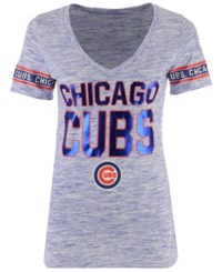 5Th And Ocean Women's Chicago Cubs Space Dye Sleeve T Shirt Royalblue