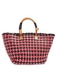 Balenciaga Bistrot Braided Patent Tote Red Multi