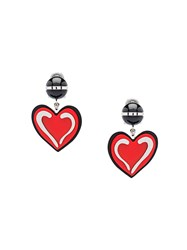 Prada Plexiglas And Silver Earrings Red