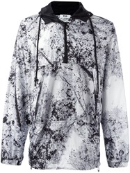 Msgm Marble Effect Hooded Windbreaker Grey