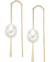 Macy's Freshwater Pearl 10 8Mm Drop Threader Earrings In 14K Gold No Color
