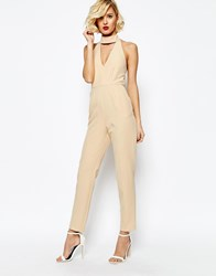 Lavish Alice Keyhole High Neck Deep Plunge Jumpsuit Nude