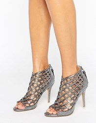 Forever Unique Cynthia Caged Heeled Sandal Silver