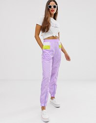 Daisy Street Relaxed Jogger With Contrast Panels Purple