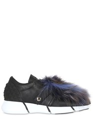 Elena Iachi 30Mm Leather Sneakers With Fox Fur