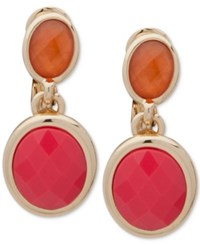 Anne Klein Gold Tone Colored Stone Clip On Drop Earrings Coral