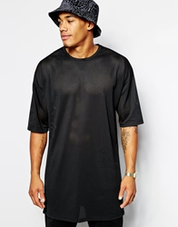 Asos Super Longline T Shirt With Mesh Oversized Fit Black