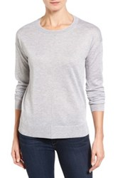 Halogen Seam Detail High Low Sweater Petite Gray