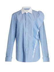 Maison Martin Margiela Oversized Striped Cotton Poplin Shirt Blue Multi