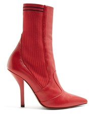 Fendi Leather And Ribbed Knit Ankle Boots Red