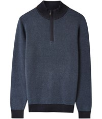 Austin Reed Blue Textured Half Zip Jumper Mid Blue
