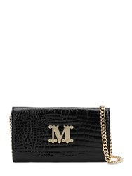 Max Mara Con 14 Embossed Leather Chain Wallet Black