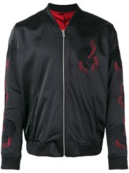The Kooples Bomber Jacket With Skull Embroidery Black