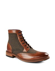 Ted Baker Sealls Dual Textured Brogue Boots Tan
