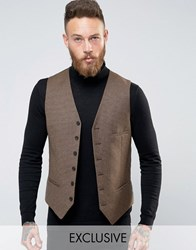 Heart And Dagger Woven In England Skinny Db Waistcoat In Dogtooth Brown