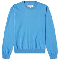 Maison Martin Margiela 14 Cut Out Elbow Patch Crew Knit Blue