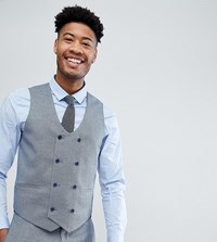 Asos Tall Wedding Skinny Suit Waistcoat In Airforce Blue Micro Texture