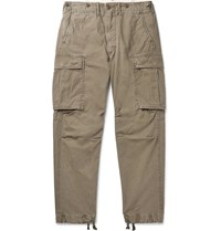 Rrl Slim Fit Tapered Washed Cotton Cargo Trousers Green