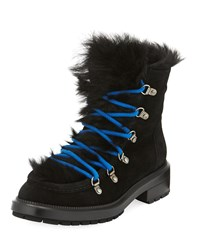 Aquatalia By Marvin K Leni Shearling Lined Hiker Boot Black