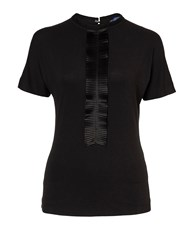 Winser London Jersey Top With Grosgrain Neck Black