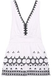 Maje Embroidered Cotton Blend Playsuit White
