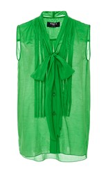 Paule Ka Sleeveless Blouse With Pleat Front And Tie Detail Green