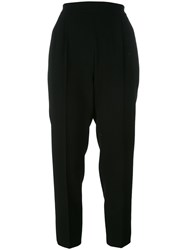 Max Mara Pleated Detail Cropped Trousers Black