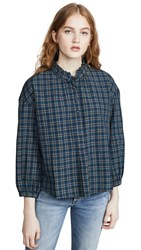 Madewell Ruffle Popover Button Down Penny Plaid