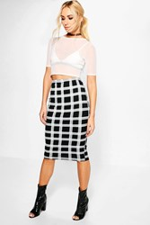 Boohoo Suri Checked Bodycon Midi Skirt Black