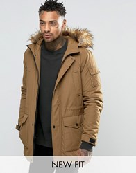 Asos Parka Jacket With Faux Fur Trim In Tobacco Tobacco Brown