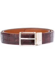 Santoni Crocodile Leather Belt Brown