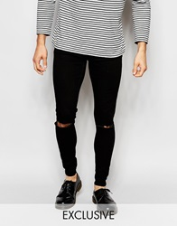 Cheap Monday Exclusive Jeans Low Spray Extreme Super Skinny Black Ripped Knee