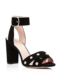 Kate Spade New York Oakwood Studded High Block Heel Sandals Black Rose Gold