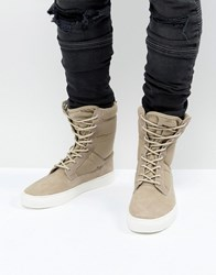 Asos Trainer Boots In Stone With Chunky Sole Stone