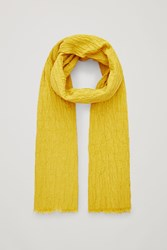 Cos Crinkled Stretch Cotton Scarf Yellow