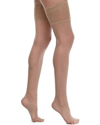 Donna Karan Signature Chantilly Lace Thigh High Stockings Brown