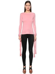 J.W.Anderson Ribbed Cotton Jersey Top W Tie Cuffs Pink