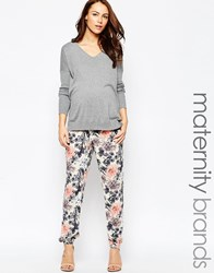 Mama Licious Mamalicious Maternity Trousers In Floral Print Multi