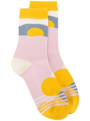 Henrik Vibskov Mars Socks Women Cotton Nylon Spandex Elastane One Size Yellow Orange