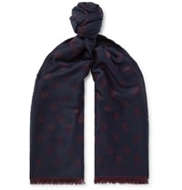 Alexander Mcqueen Fringed Wool And Silk Blend Jacquard Scarf Navy