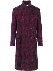 Uma Wang Abstract Pattern Double Breasted Coat Red