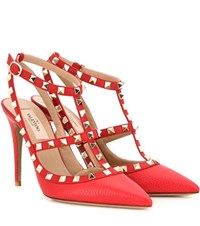 Valentino Rockstud Leather Pumps Red