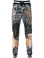 Philipp Plein Printed Track Pants Men Cotton L Black