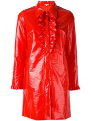 Manoush Frill Detail Coat Women Cotton Polyester Polyurethane Acetate 36 Red