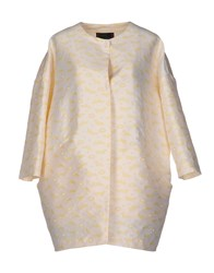 Femme By Michele Rossi Overcoats Light Yellow
