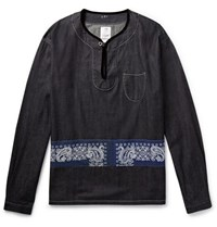 Visvim Velvet Trimmed Panelled Denim Shirt Indigo